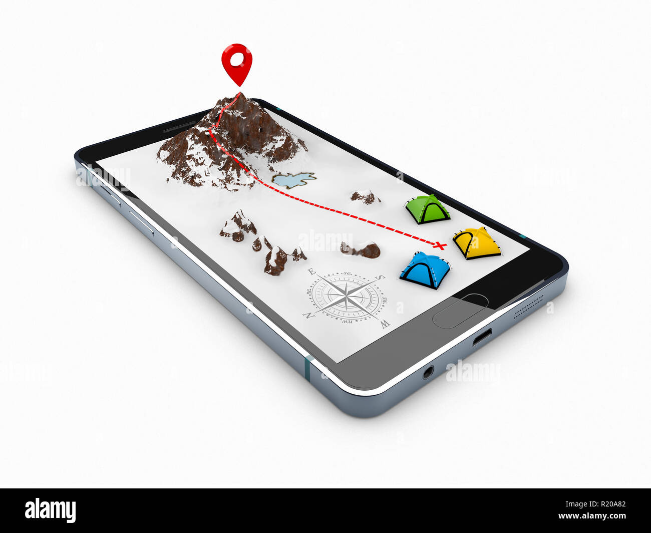 3d illustration of smartphone with mobile navigation app on screen. Route map with symbols. - Stock Image