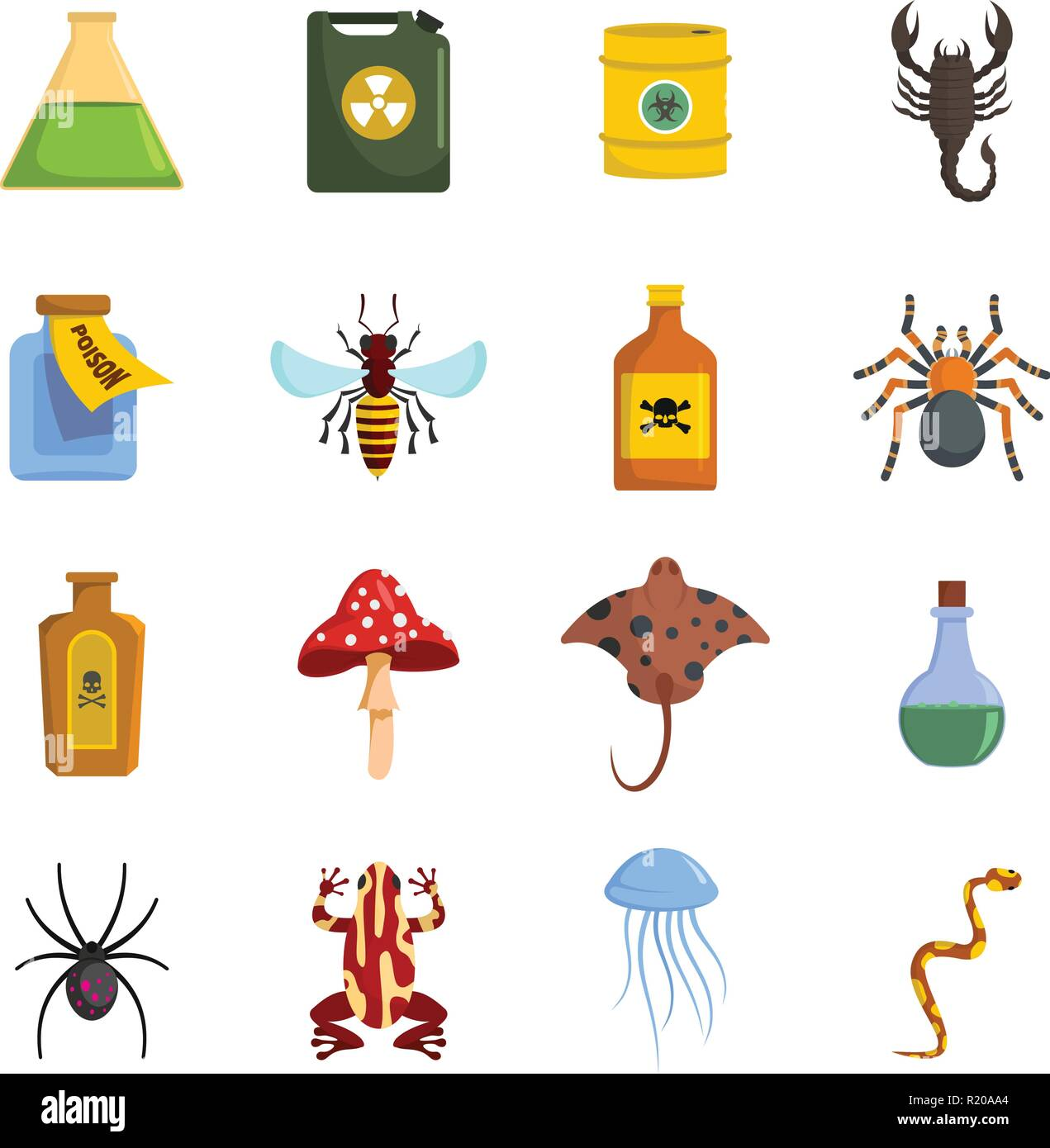 Poison danger toxic icons set. Flat illustration of 16 poison danger toxic vector icons for web - Stock Image