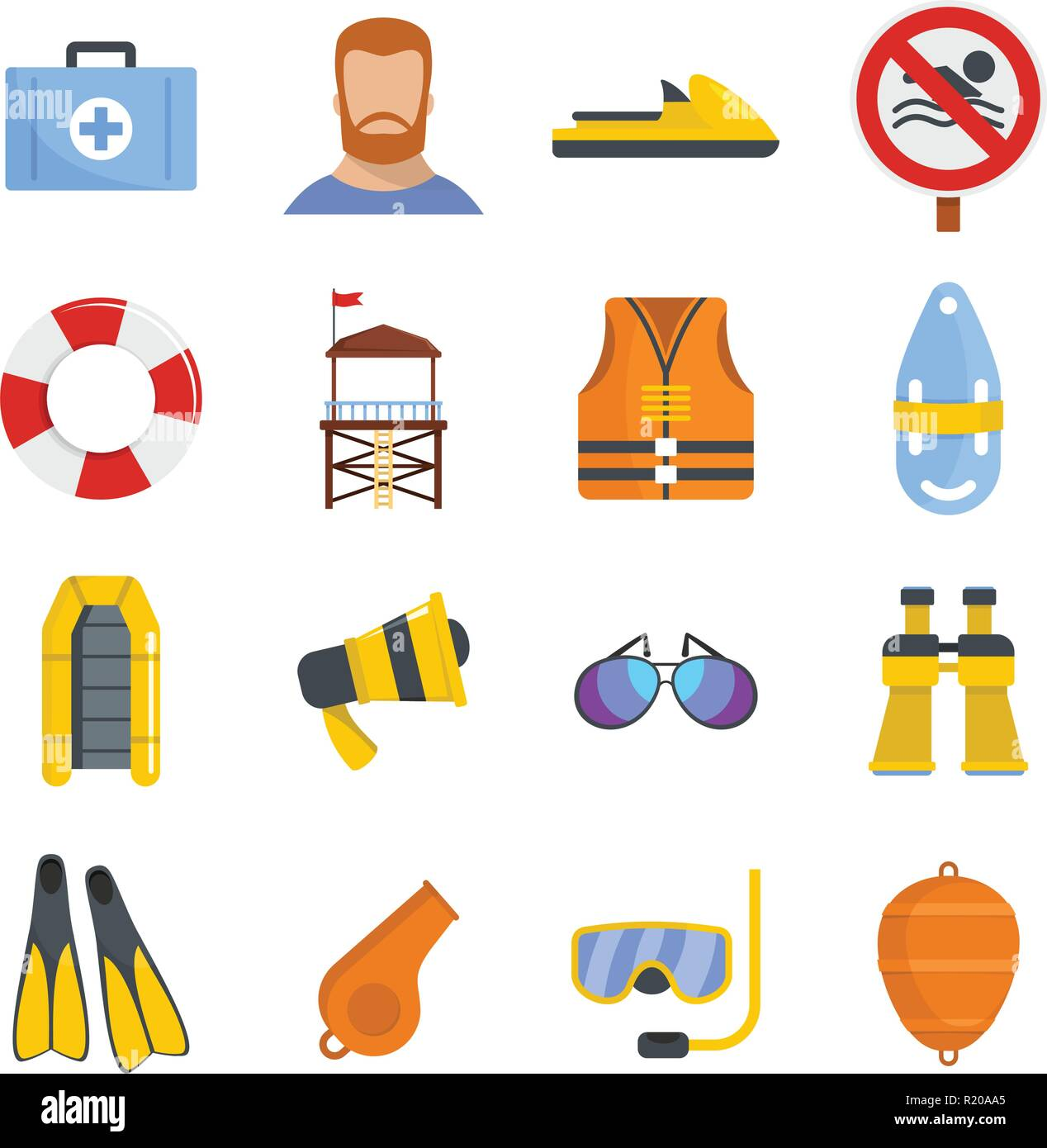 Lifeguard save icons set. Flat illustration of 16 lifeguard save vector icons for web - Stock Image