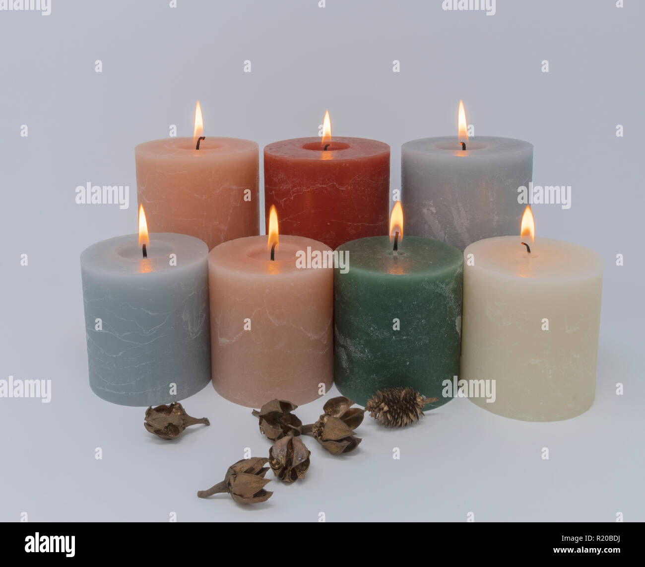 Aromatic and decorative round candles - Stock Image