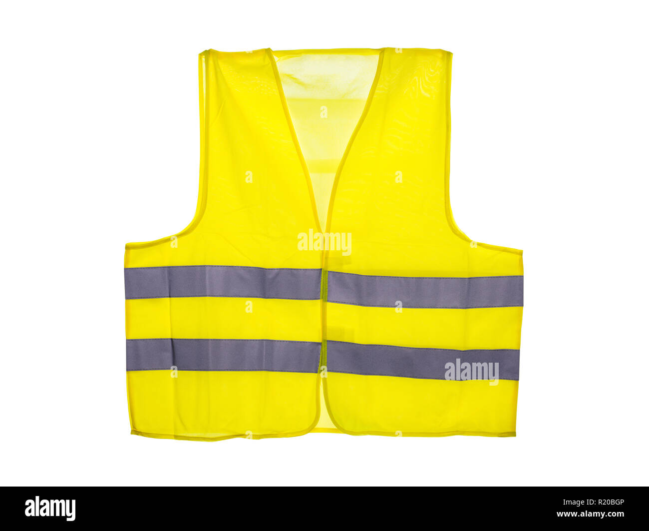 Yellow safety vest, isolated on a white background with a clipping path. - Stock Image