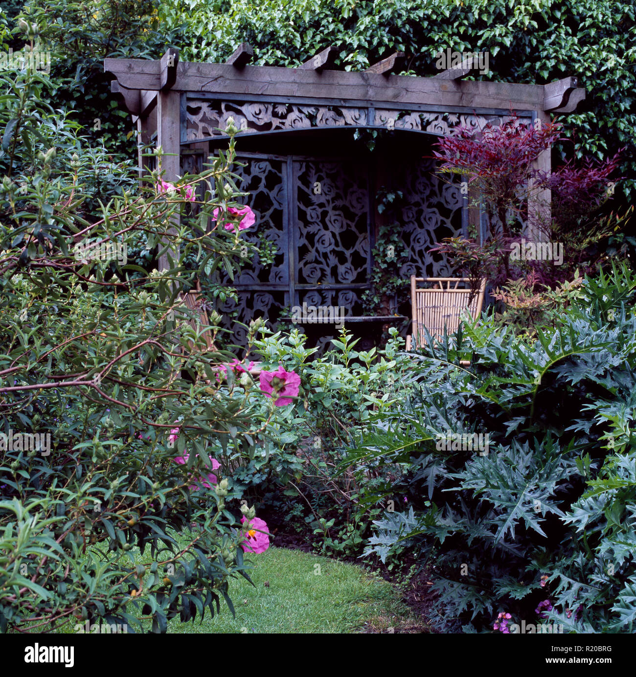 Pink cistus and green shrubs in front of ornate gazebo - Stock Image