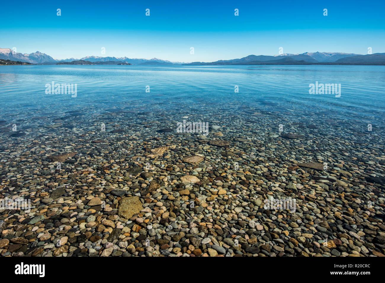 Stones in Lake Nahuel Huapi - Stock Image