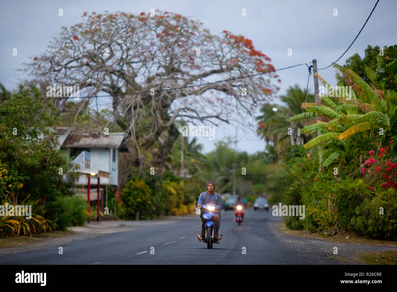 Dusk commute on Rarotonga, Cook Islands. - Stock Image