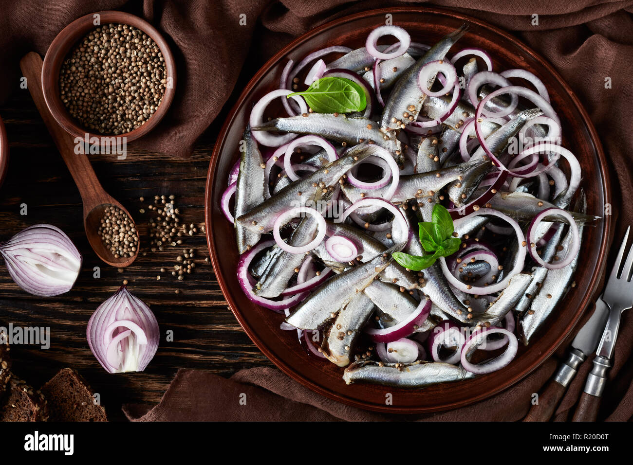 salted sprats marinated with red onion rings on an earthenware plate. coriander seeds, brown cloth, fork and knife on an old rustic wooden table, view - Stock Image