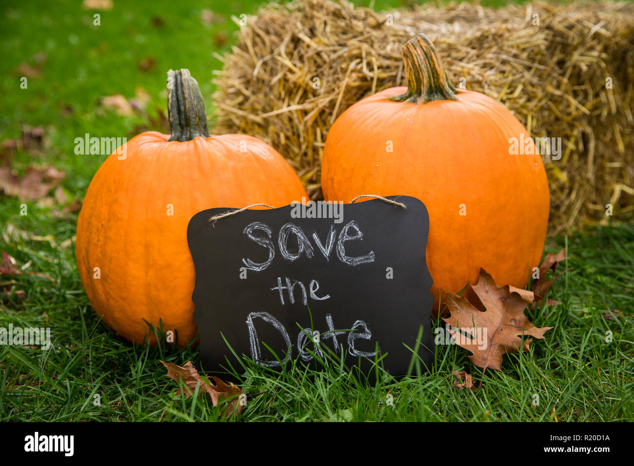 A save the date sign sitting against two pumpkins against a bale of hay in the fall. - Stock Image