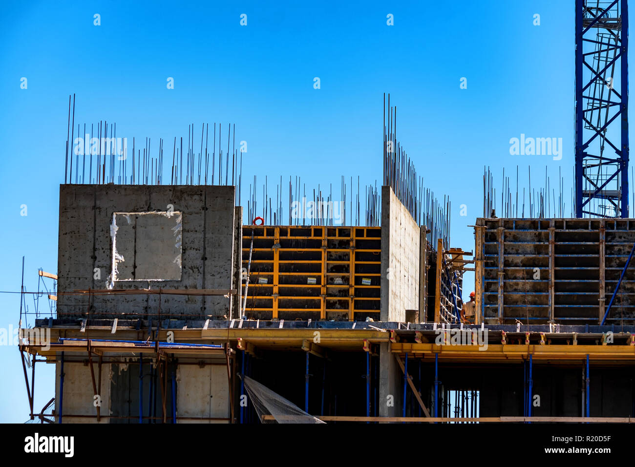 Modern construction site of building with metal carcass - Stock Image