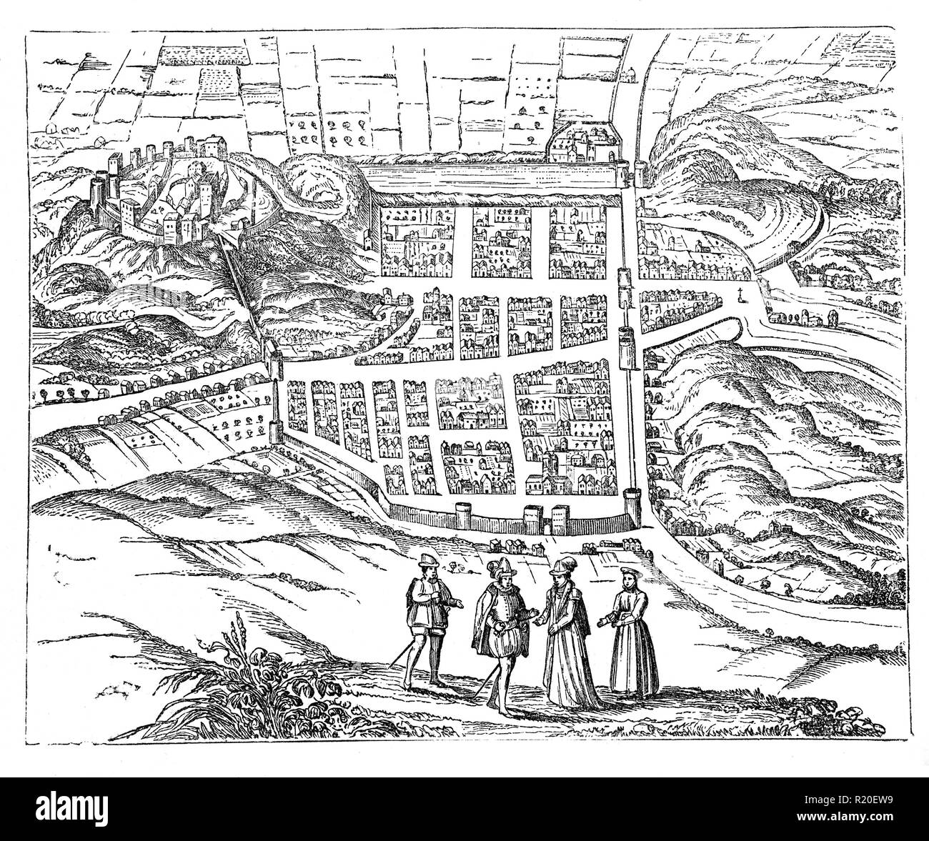 A map of Edinburgh in the 17th century when  grew in size and prosperity. This was despite outbreaks of plague in 1604 and 1645. Meanwhile in 1621 thatched roofs were banned in Edinburgh as they were a fire hazard. - Stock Image