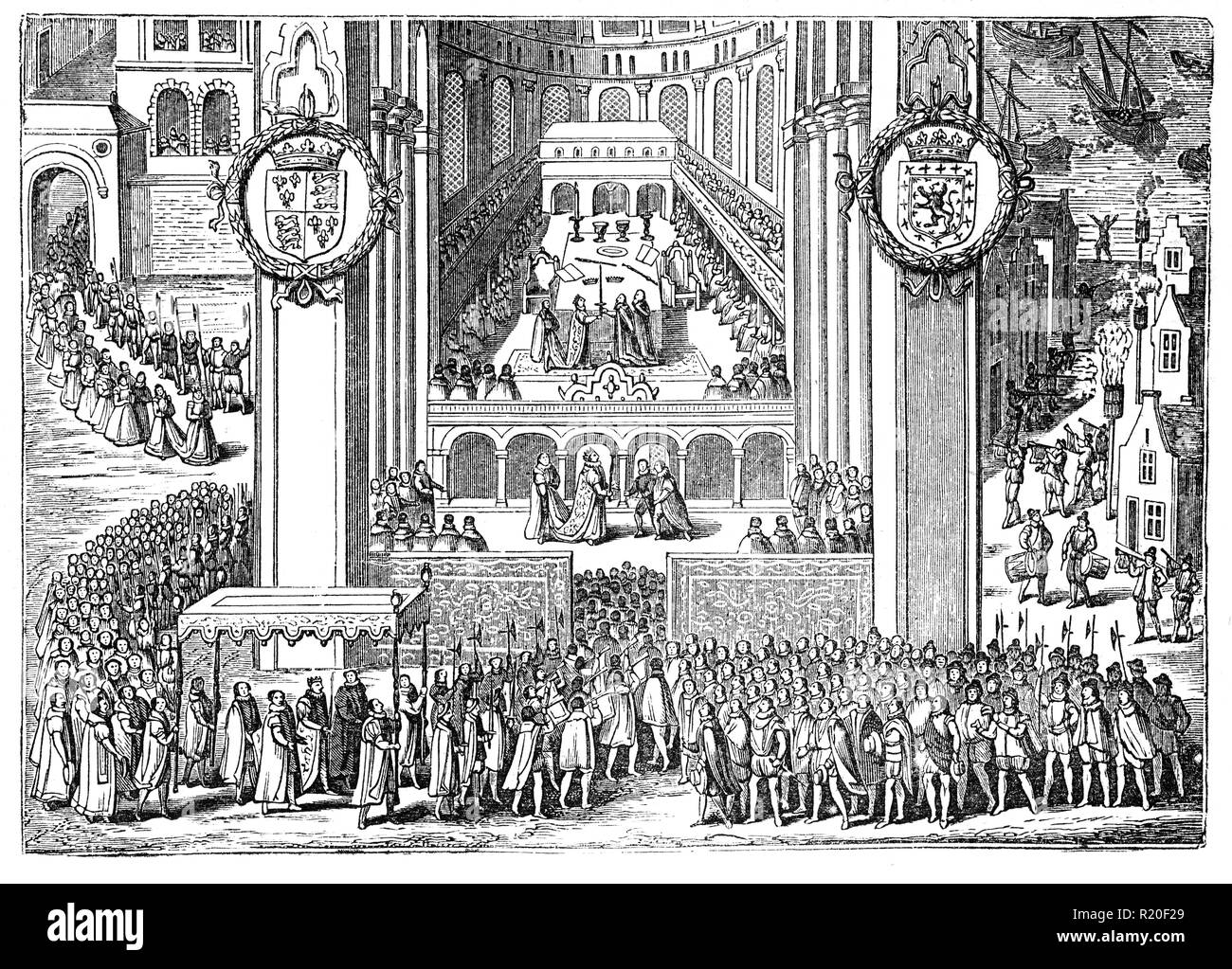 The English coronation of King James I on the on 25 July, 1567 in Westminser Abbey, London. He was also  King of Scotland as James VI from 24 July 1567 and King of England and Ireland as James. Although the kingdoms of Scotland and England were individual sovereign states, with their own parliaments, judiciaries, and laws, though both were ruled by James. He succeeded the last Tudor monarch, Elizabeth I in 1603 and reigned in all three kingdoms for 22 years, a period known after him as the Jacobean era, until his death in 1625 at the age of 58. - Stock Image