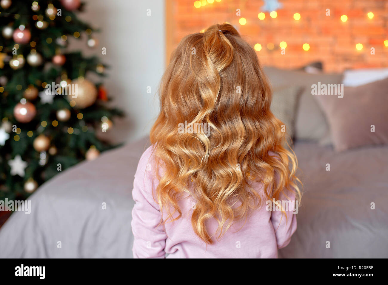 Rear View Of Girl Hairstyle Little Girl Standing With Her Back And