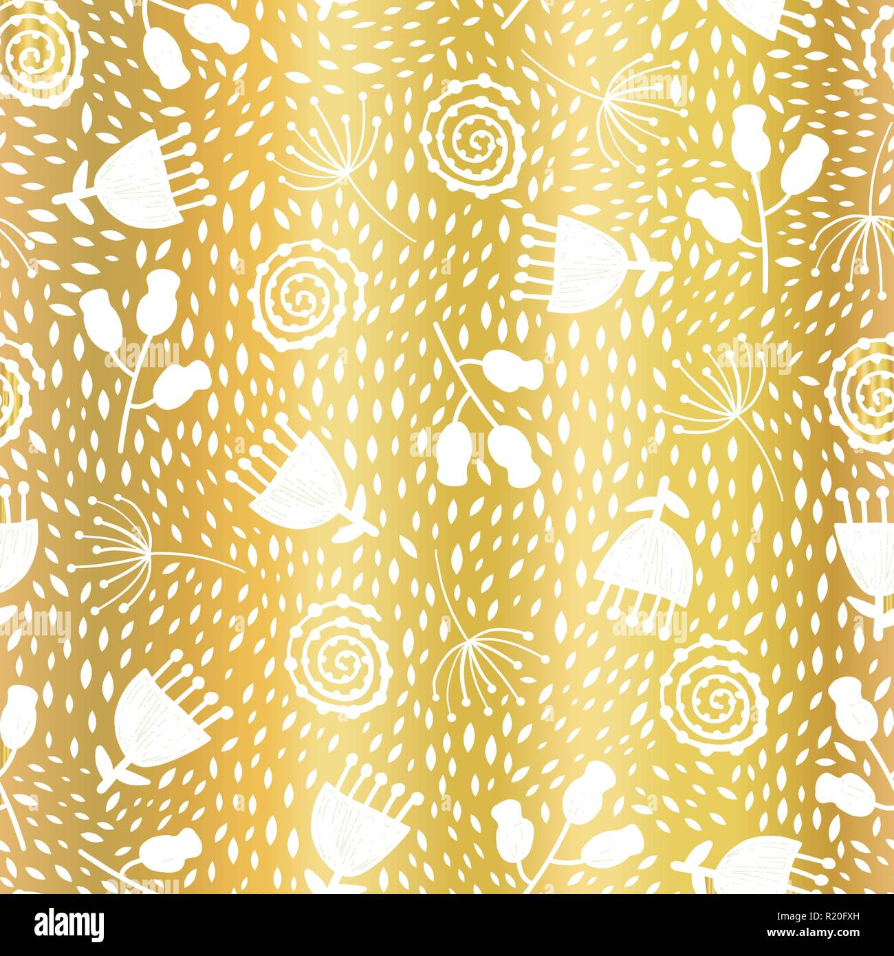 Golden Tulip Flower Vector Seamless Pattern Background Elegant