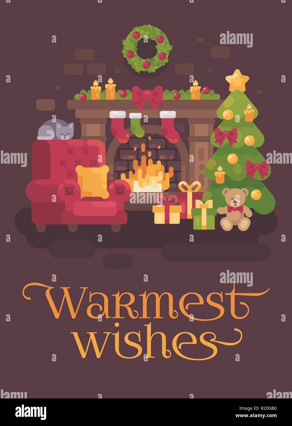 Cozy decorated Christmas room with a fireplace, a red armchair, a Christmas tree with presents and a sleeping cat. Holiday flat illustration greeting  - Stock Vector