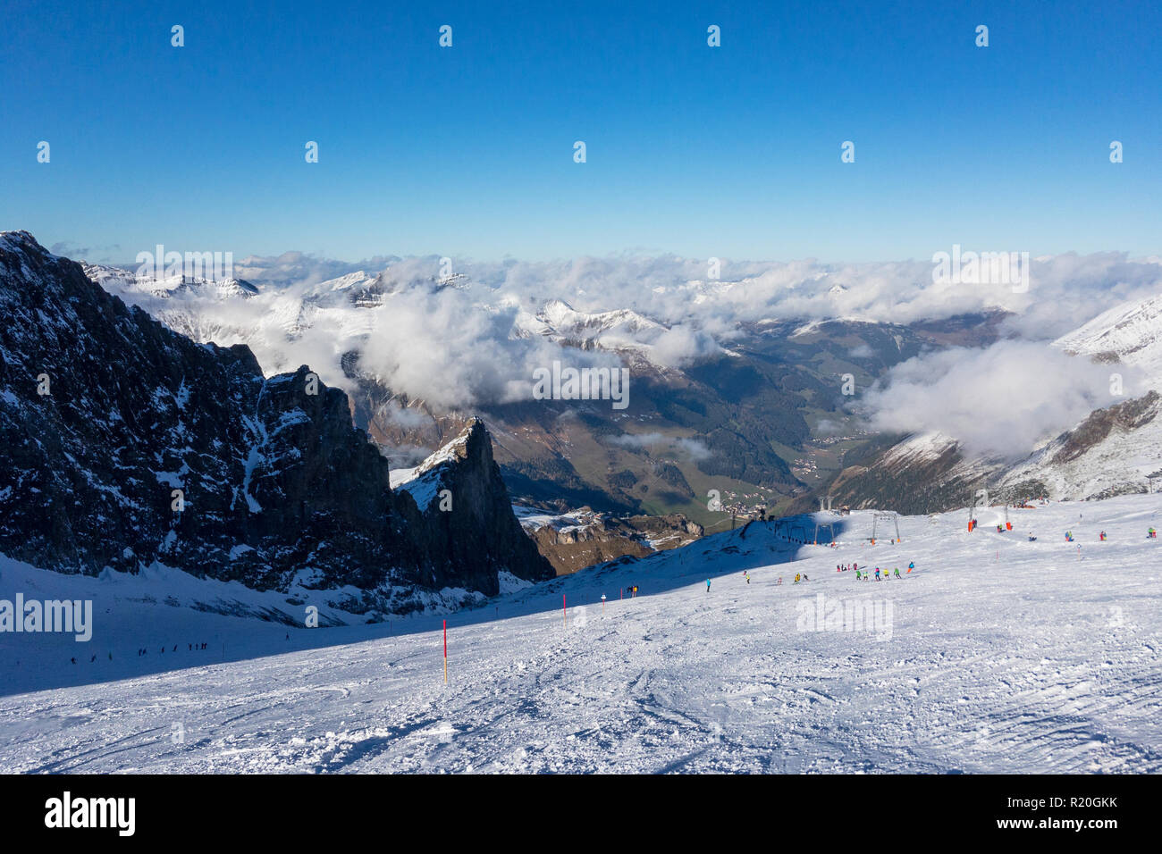 Panorama view of Austrian ski region of Hintertux Glacier in the region of Tyrol with a view to Ziller valley (Zillertal) Stock Photo