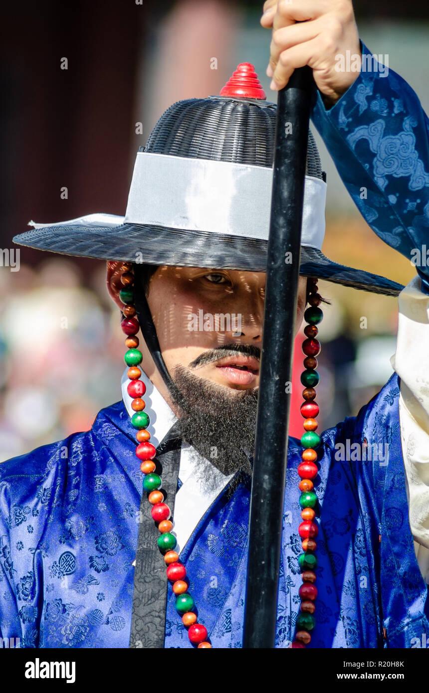 Close up of a pikeman at a reenactment of traditional combat arts at Gyeongbokgung Palace in Seoul, South Korea. Stock Photo
