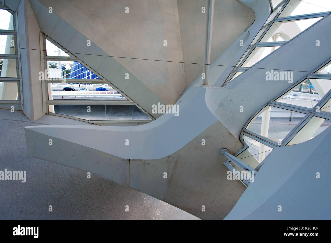 Geometric structural design interior of The Science Museum at the Arts of the Sciences, Valencia, Spain. - Stock Image