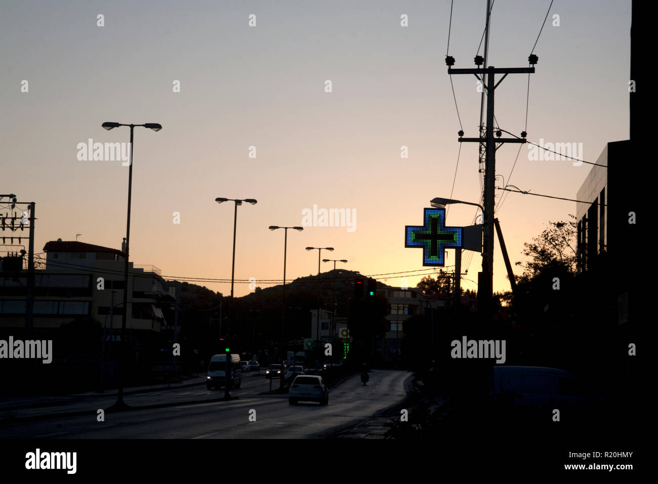 street scene at dawn vouliagmeni athens greece - Stock Image