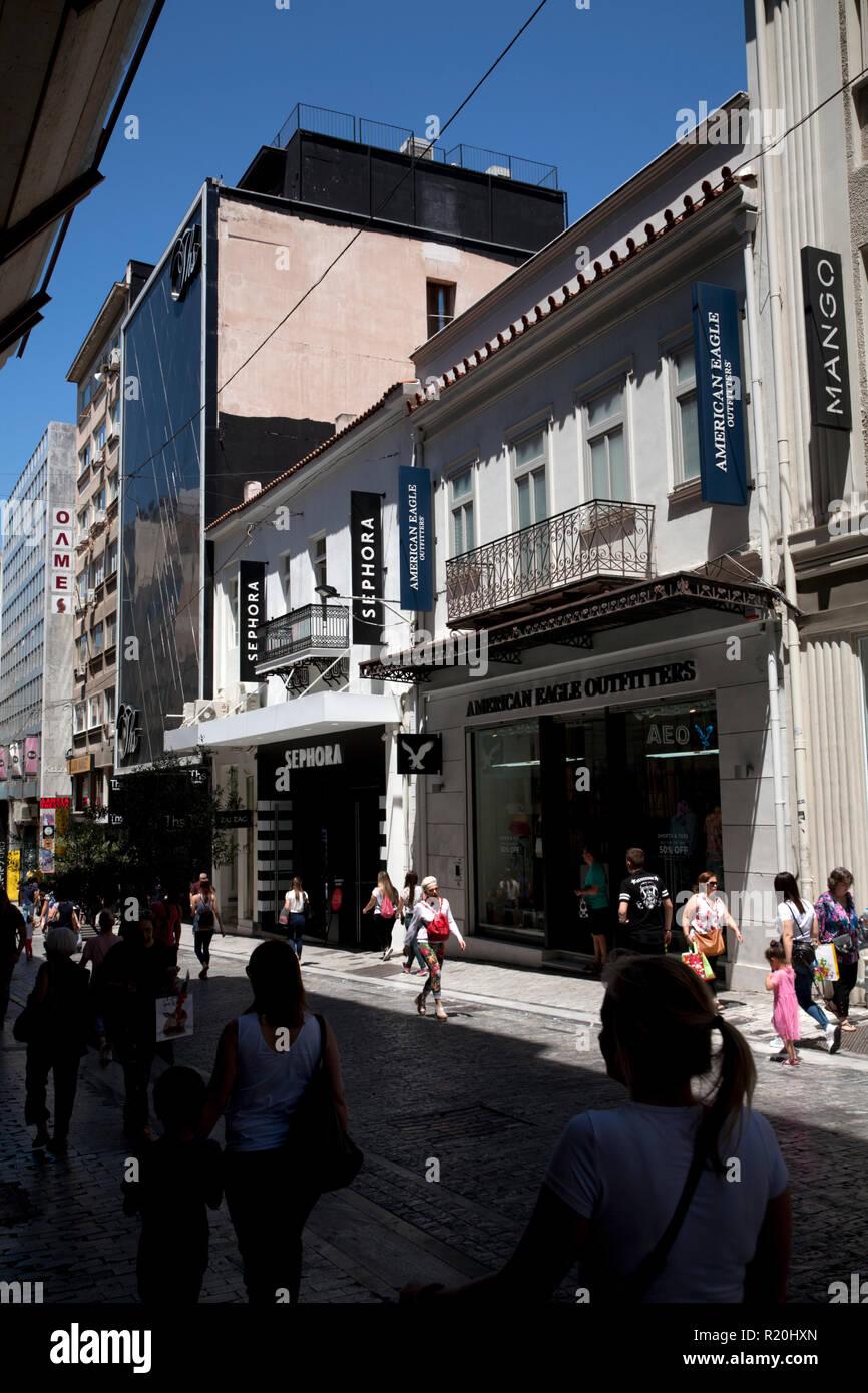 shoppng precinct ermou syntagma athens greece - Stock Image