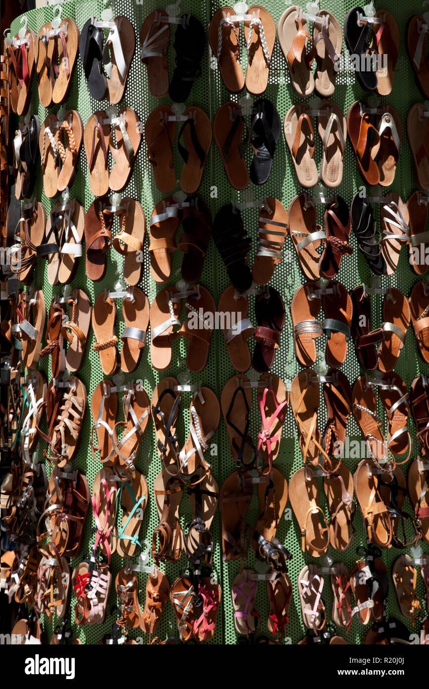sandal display ermou monastiraki athens greece - Stock Image