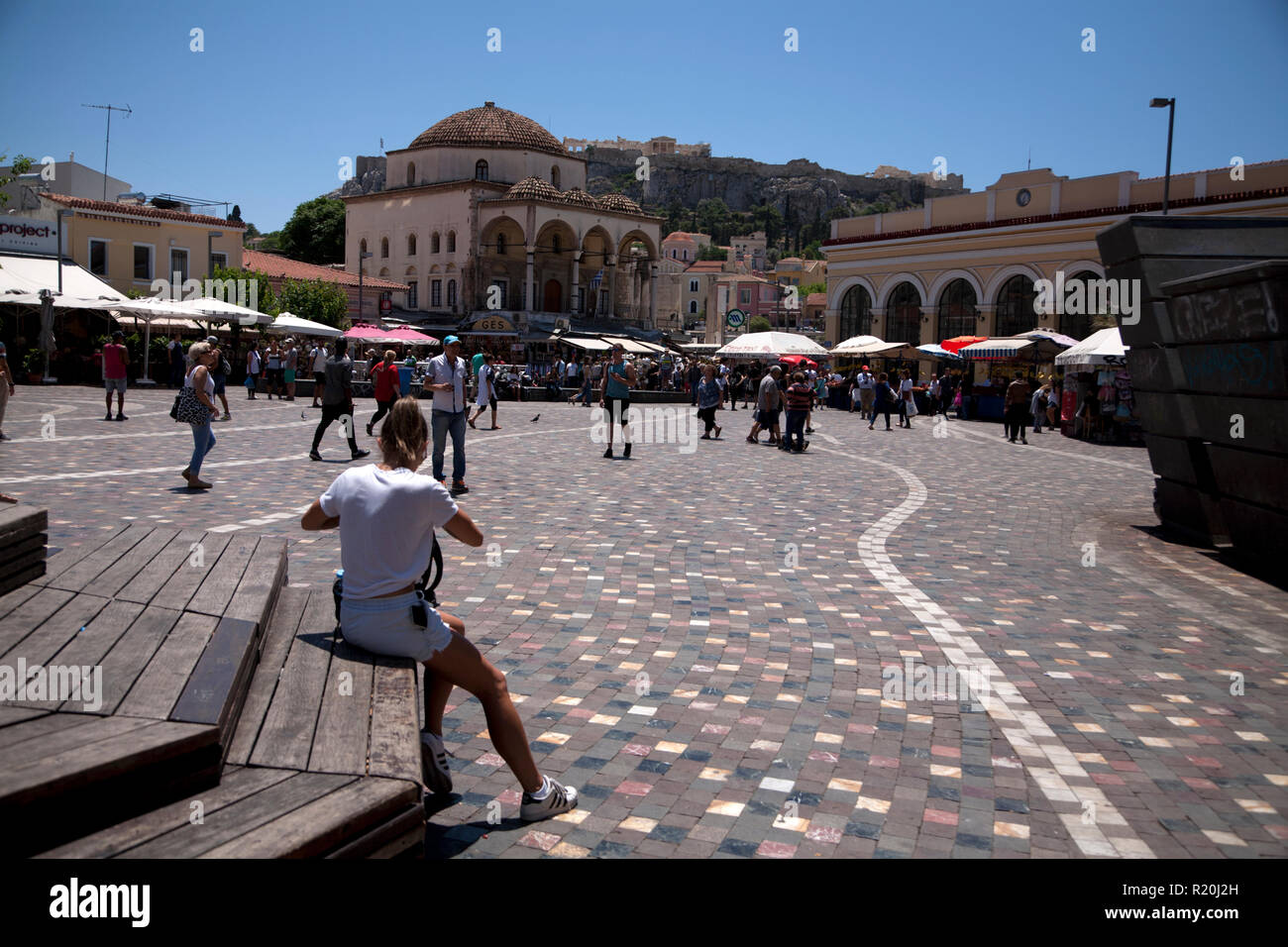 tourists in plateia monastiraki athens greece Stock Photo