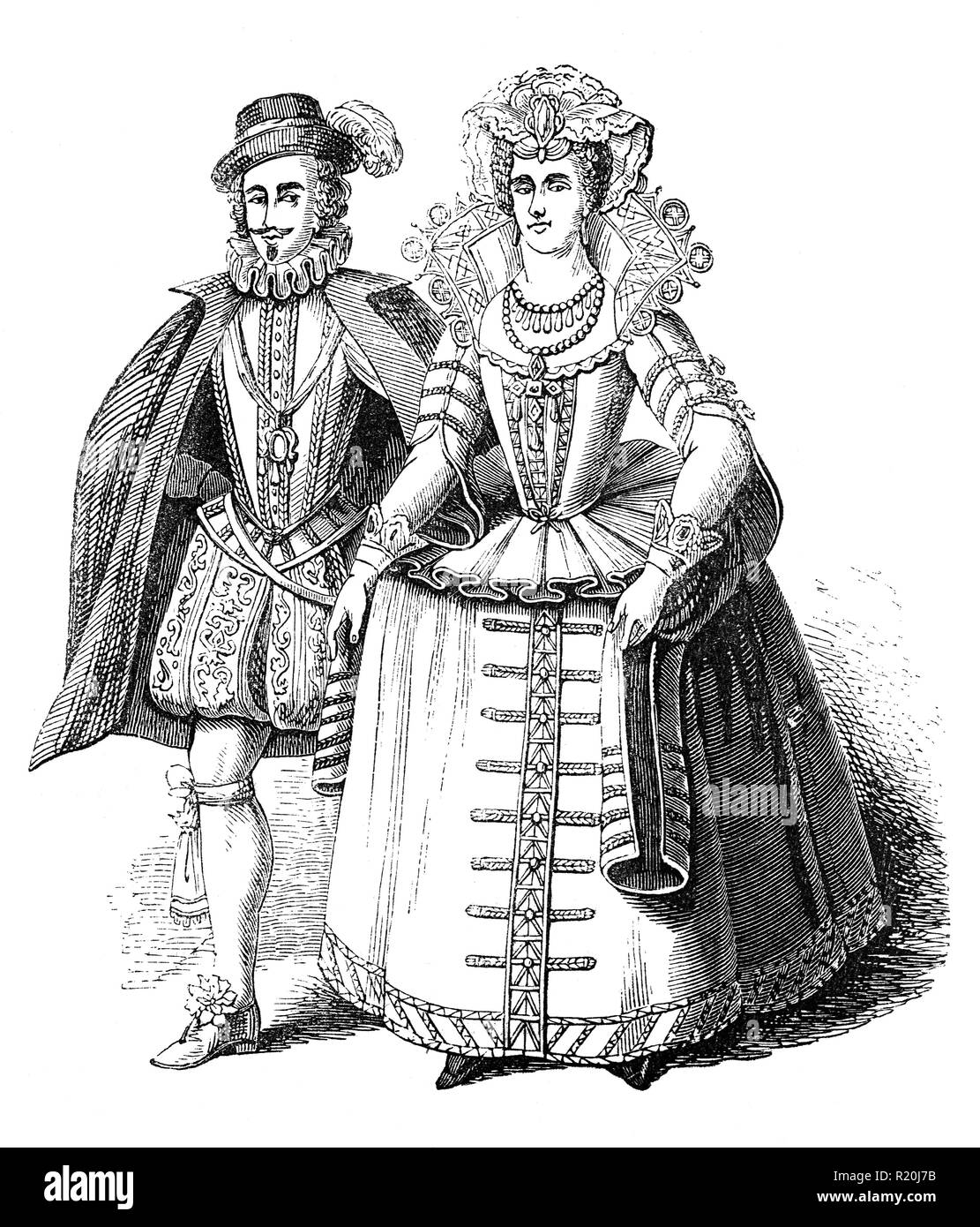 The Earl and Countess of Somerset.  Francis Howard Carr, the Countess was originally  married at the age of 14 to the 13-year-old Robert Devereux, 3rd Earl of Essex. The marriage was unconsumated and Frances married Somerset on 26 December 1613. Both were incriminated in the death of Sir Thomas Overbury but received a pardon from King James in January 1622 and were subsequently released from prison. - Stock Image