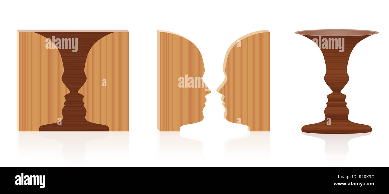 Faces vase optical illusion. Wooden textured 3d figure-ground perception. In psychology known as identifying figure from background. - Stock Image