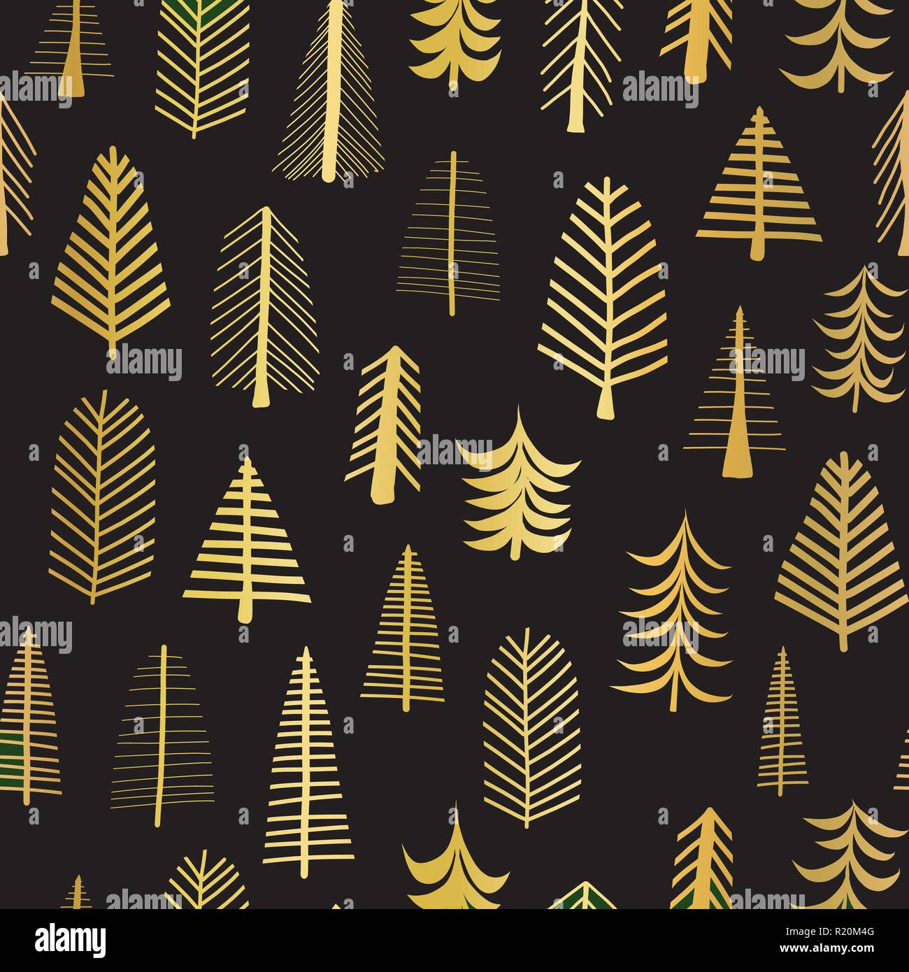 Gold Foil Doodle Christmas Trees Seamless Vector Pattern