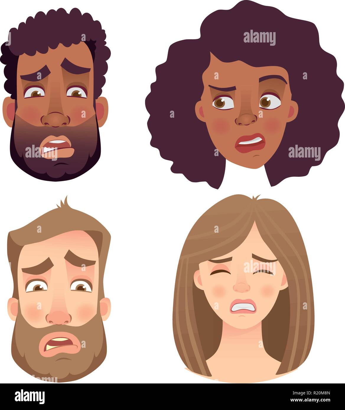 Face of man and woman. Emotions of woman face. Facial expression men vector illustration - Stock Vector