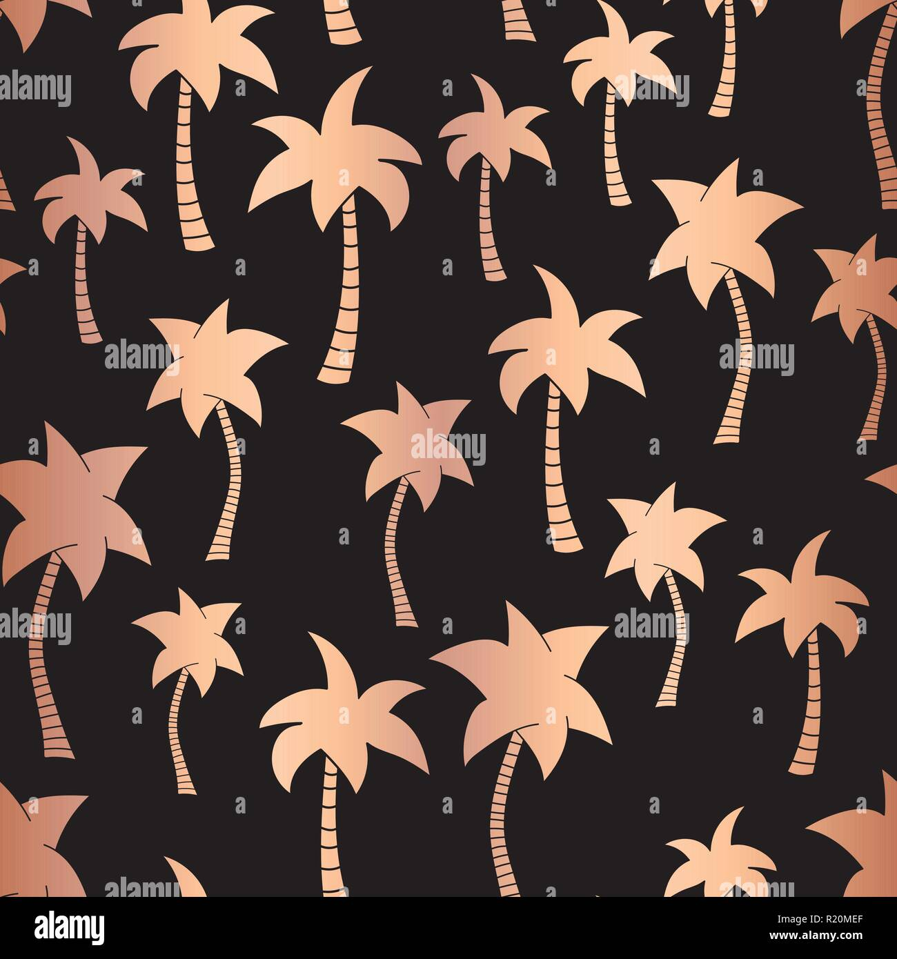Vector Rose Gold Foil Palm Trees On Black Summer Seamless