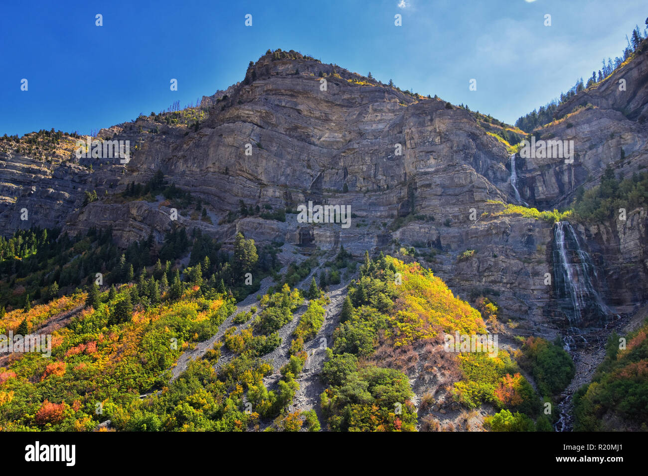 Bridal Veil Falls is a 607-foot-tall (185 meters) double cataract waterfall in the south end of Provo Canyon, close to Highway US189 in Utah, United S - Stock Image