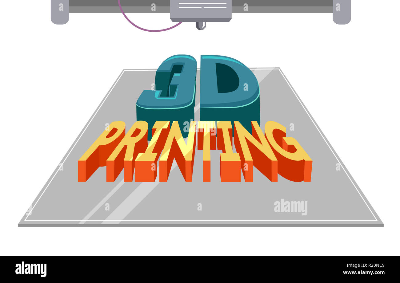 Typography Illustration Featuring a 3 D Printing Machine Printing a Block of Text - Stock Image