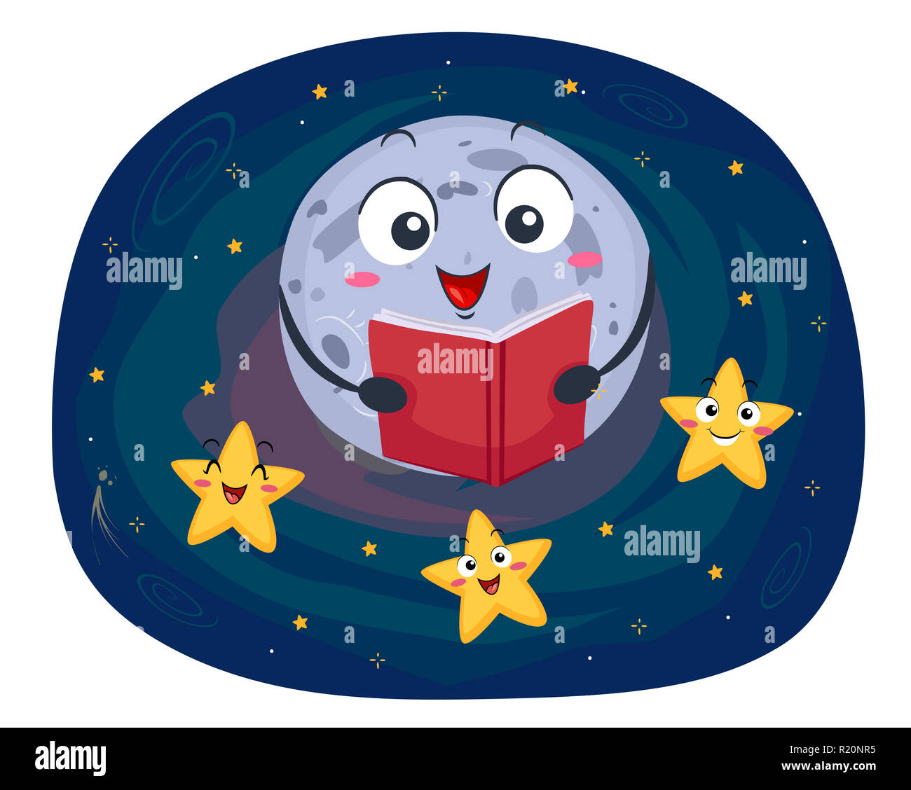 Colorful Mascot Illustration Featuring a Full Moon Reading a Bedtime Story to a Group of Stars - Stock Image