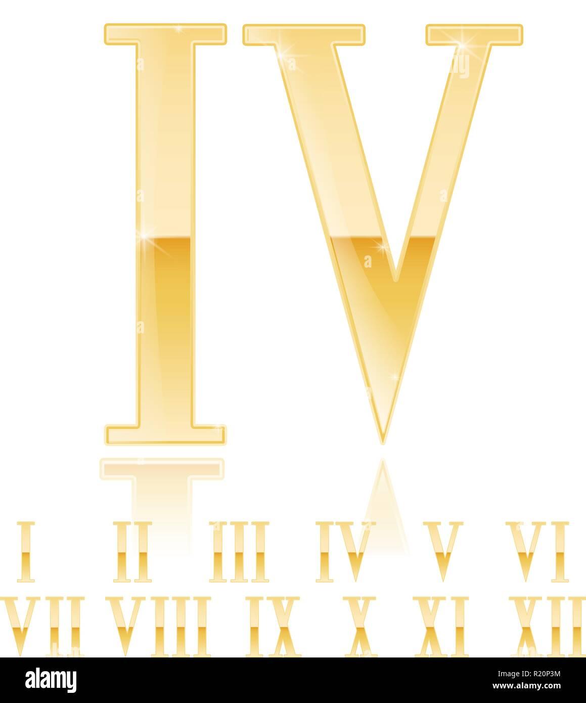 Roman numeral Four. Golden 3d sign - Stock Image