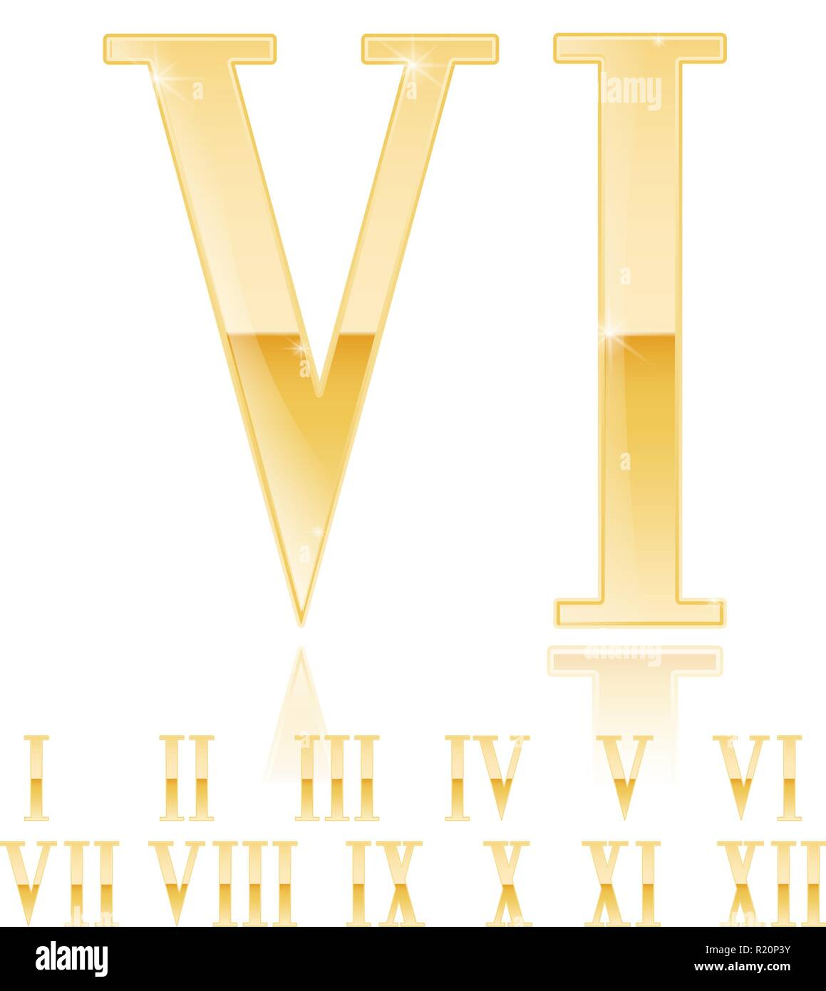 Roman numeral Six. Golden 3d sign - Stock Image