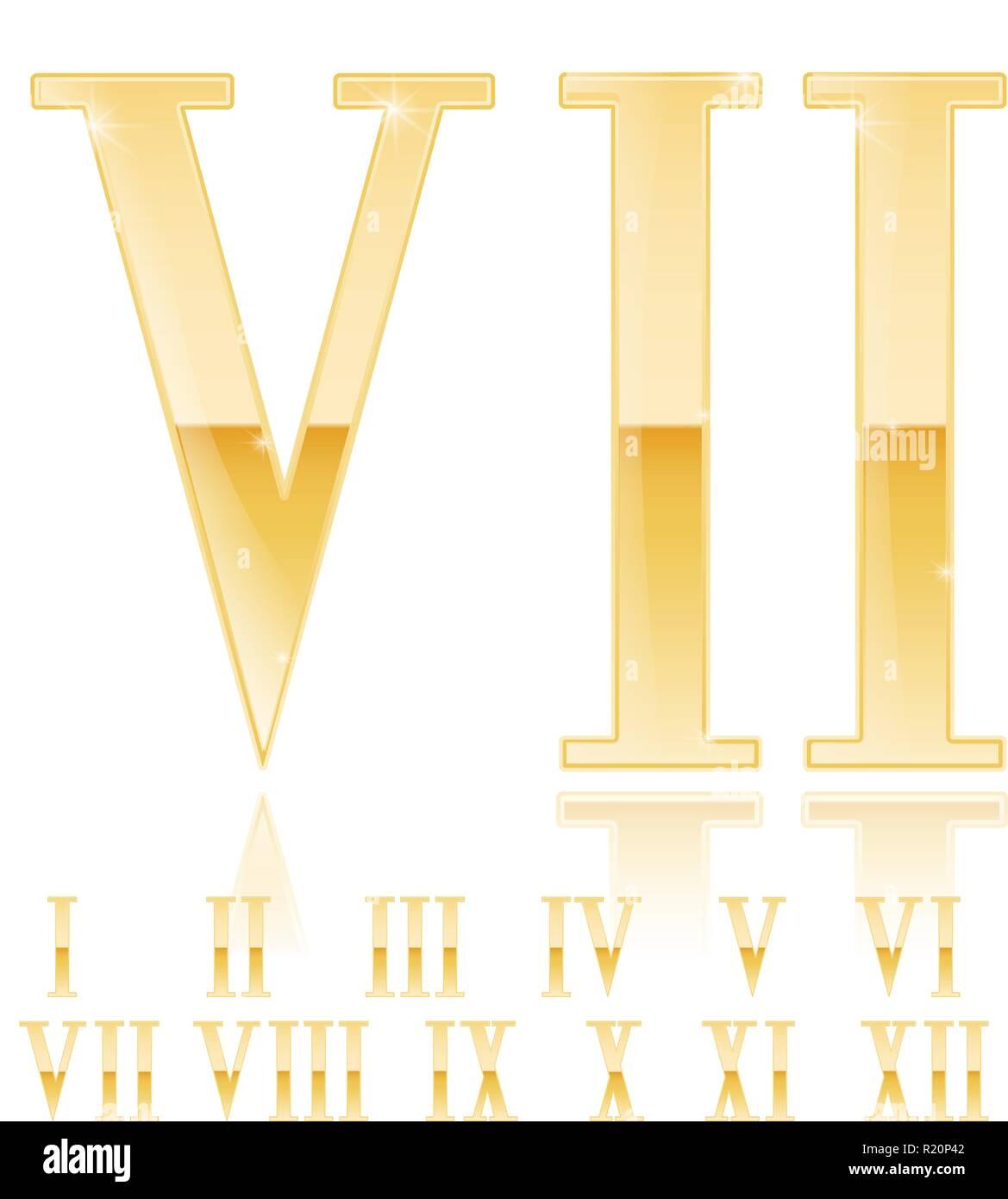 Roman numeral Seven. Golden 3d sign - Stock Image