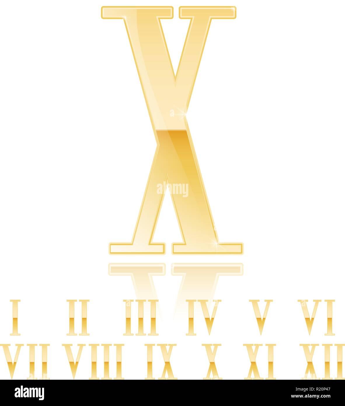 Roman numeral Ten. Golden 3d sign - Stock Image
