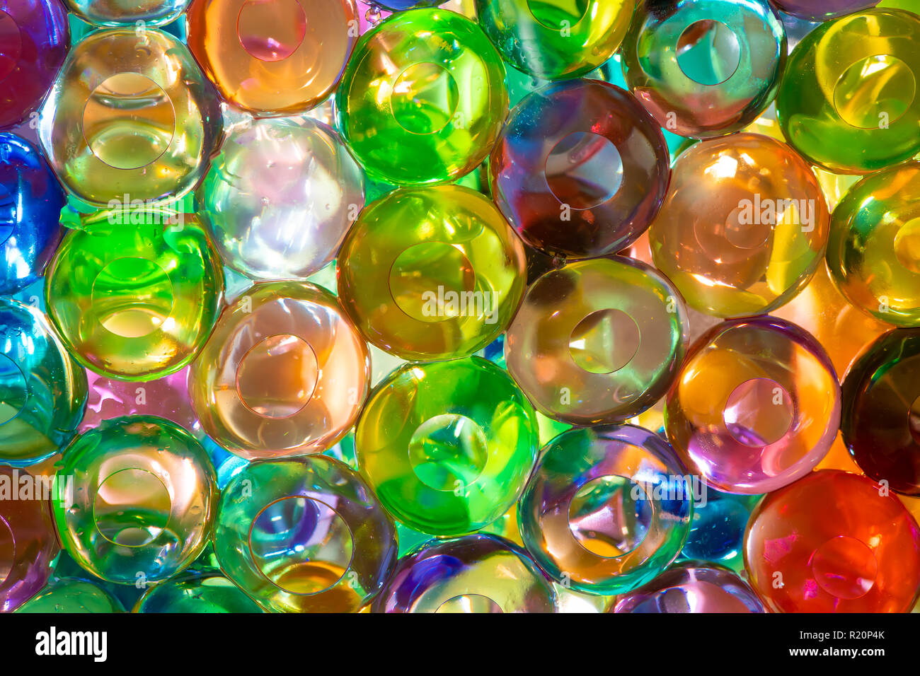The colorful water beads or water crystal gel use for background Stock Photo