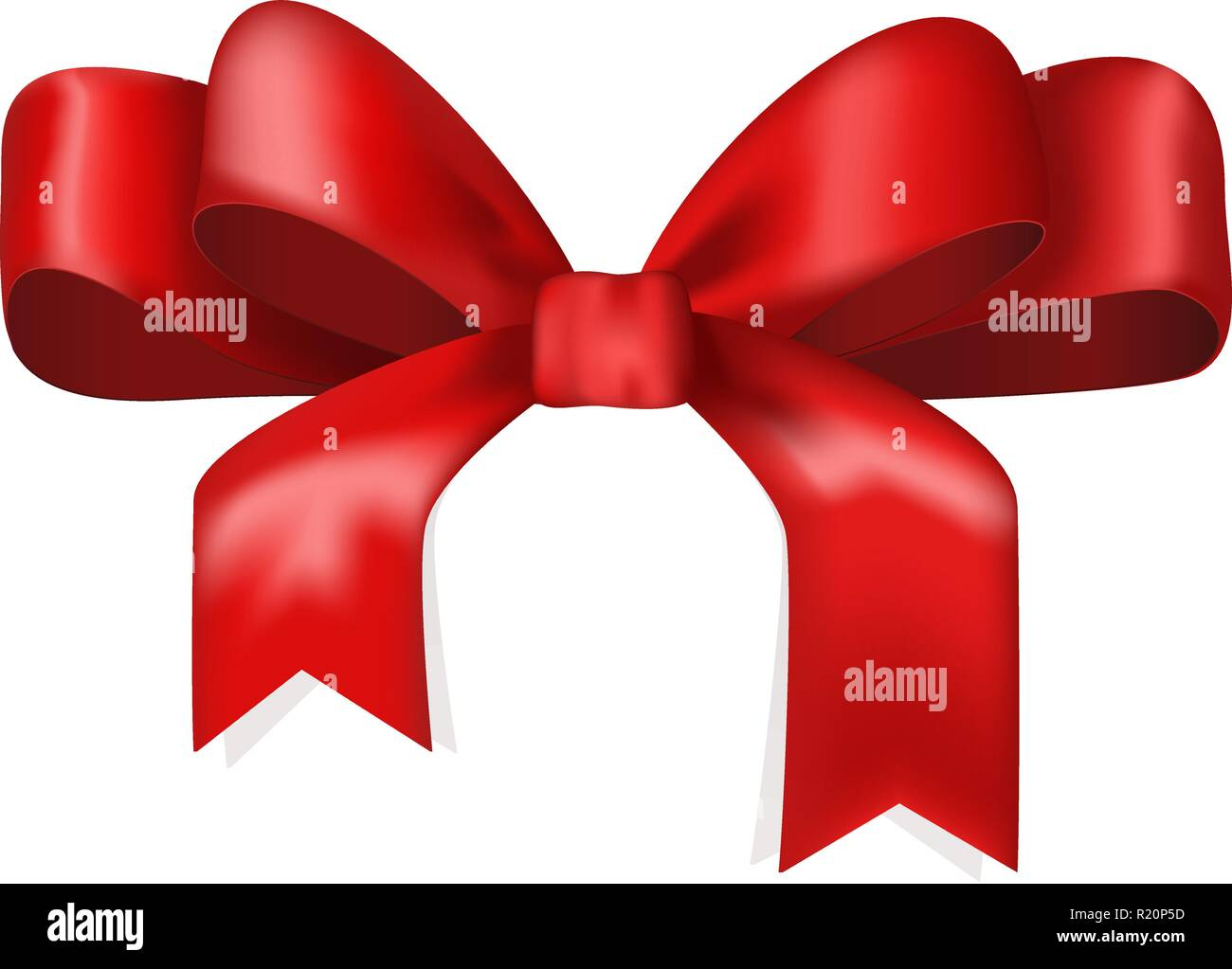 Red ribbon bow. Tied knot - Stock Vector