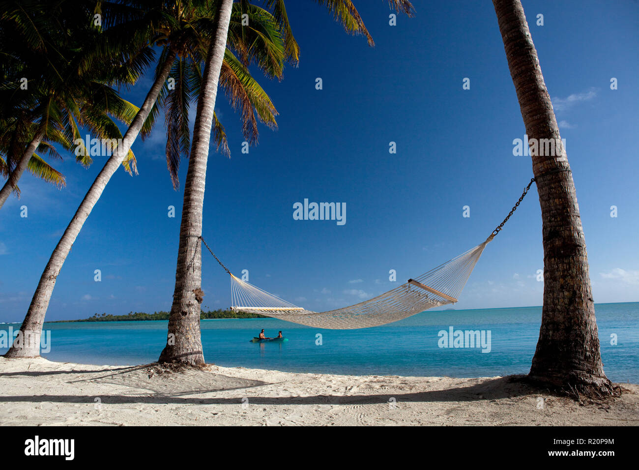 The perfect place to take in the view over Aitutaki Lagoon, Cook Islands. - Stock Image