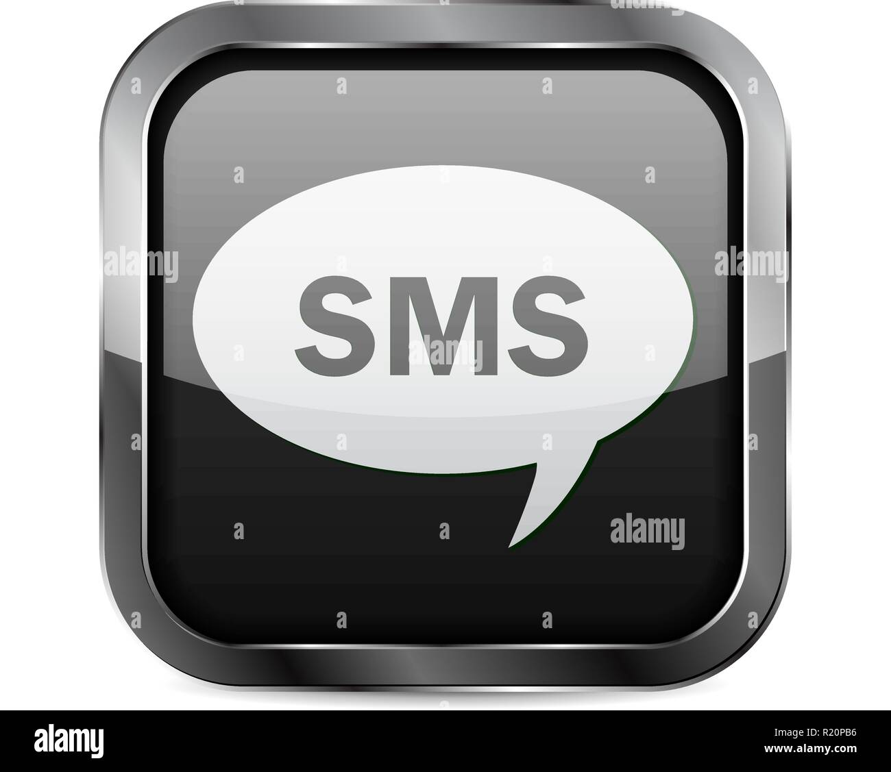 SMS button. Black glass 3d icon with metal frame - Stock Image