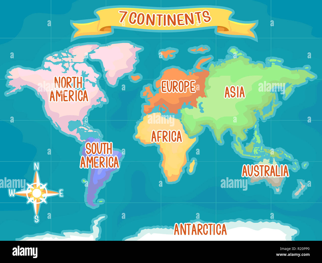 Colorful Illustration Featuring a World Map Highlighting the Seven ...