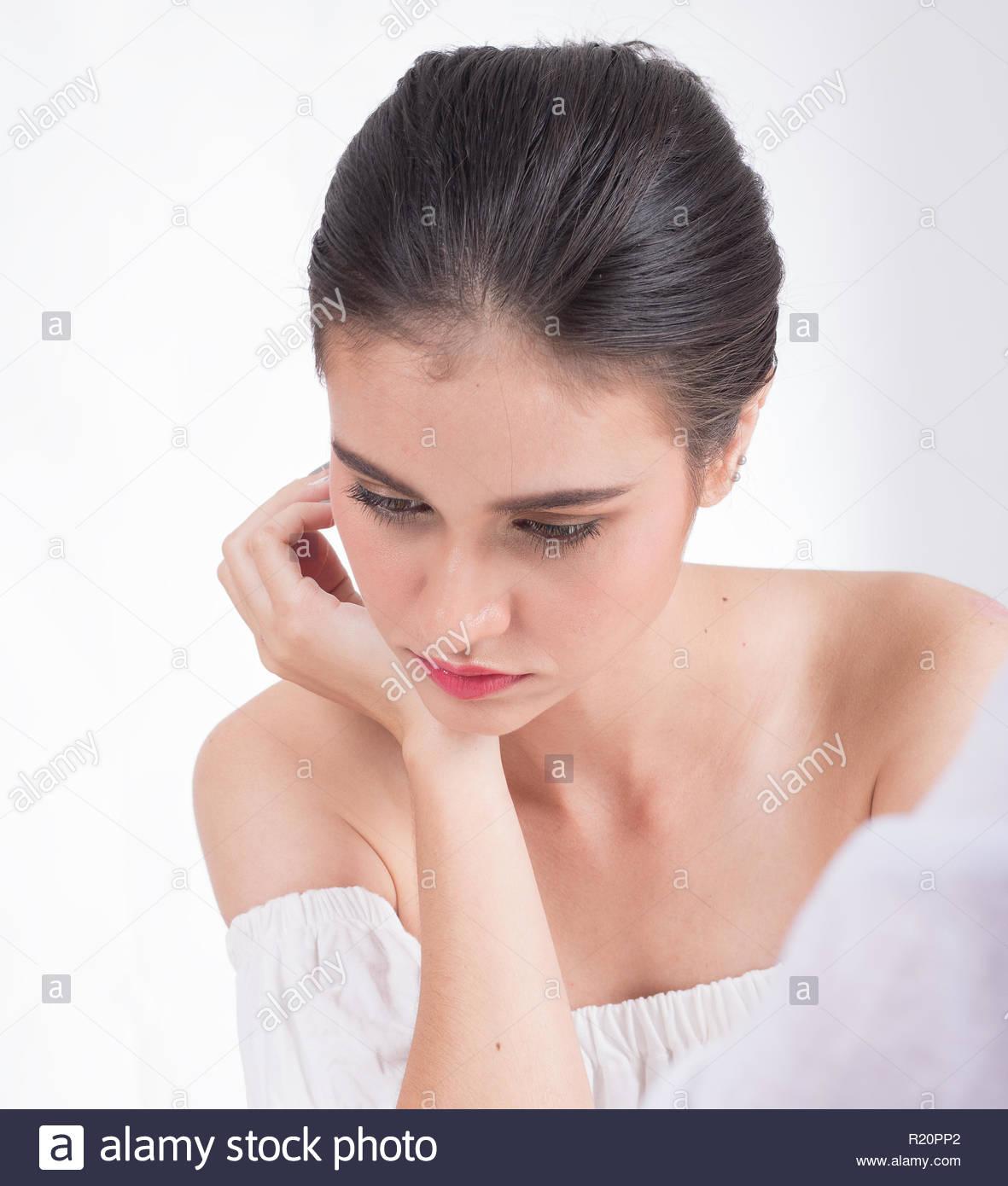 Stressed women unemployed - Stock Image