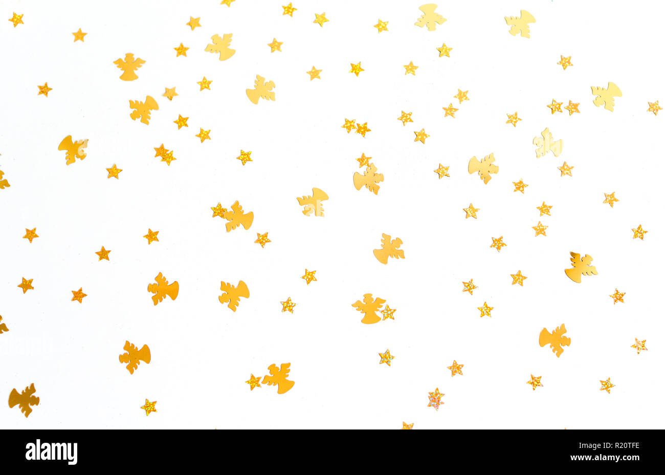 Angels Christmas Background.Christmas Background Golden Angels And Stars On White