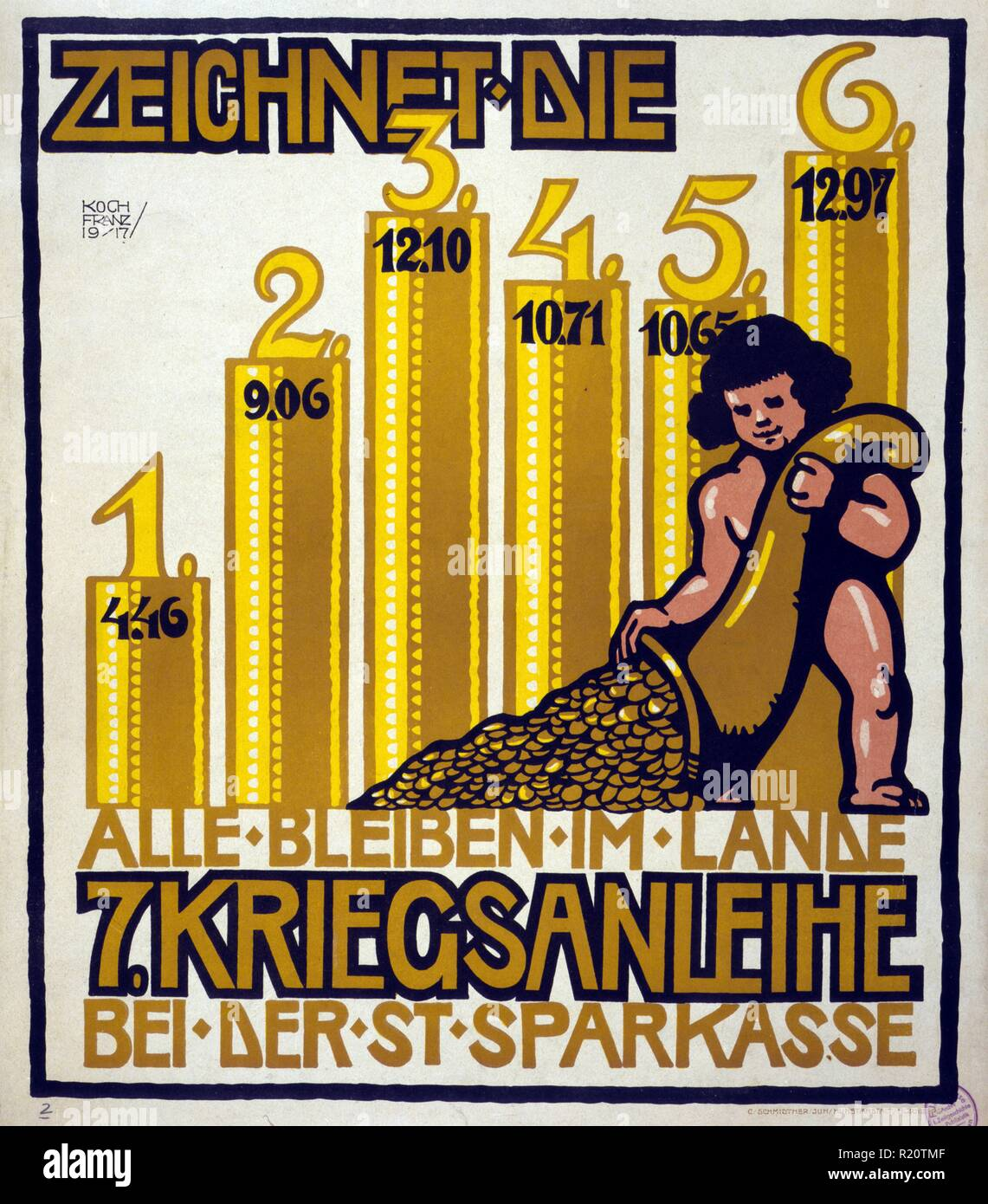 Poster shows a cherub pouring coins from a bag;in the background a graph shows amounts collected at the various war loan drives. Text: Subscribe to the 7th War Loan at the local bank, all funds stay in the country. - Stock Image