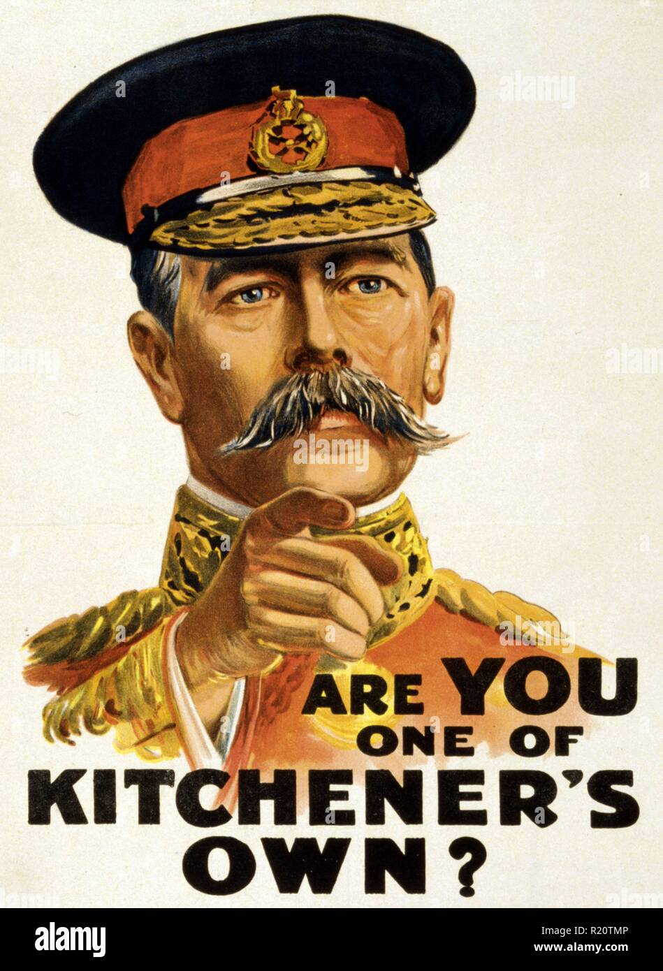 Russian poster shows portrait of Lord Kitchener pointing his finger. Dated 1915 - Stock Image