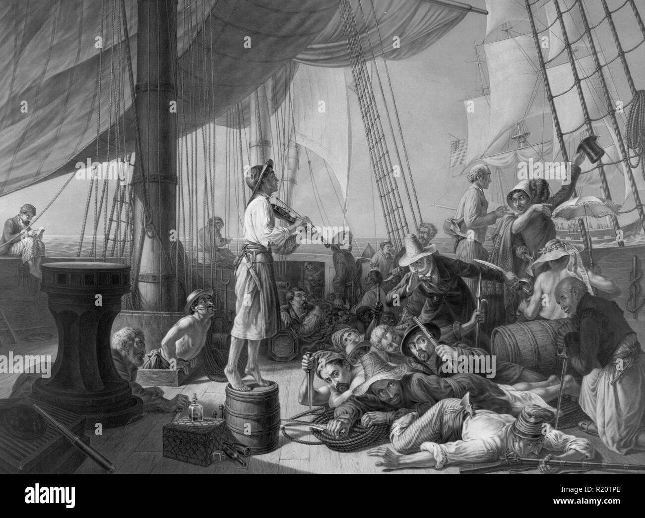 Black and white print depicting The pirates' ruse luring a merchantman in the olden days. Dated 1896 - Stock Image