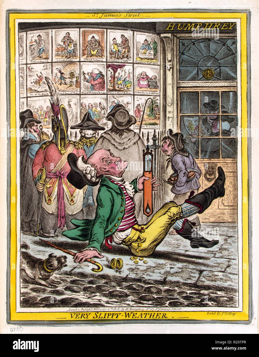 Hand-coloured etching depicts an elderly man who has slipped and fallen on the sidewalk outside Humphrey's printing establishment at No. 27 St. James's Street, London. He is holding a thermometer which he manages keep upright, behind him are five individuals looking at caricatures printed by Humphrey that are on display in the shop windows. Created by James Gillray (1756-1815) British caricaturist and printmaker famous for his etched political and social satires. Dated 1808 - Stock Image