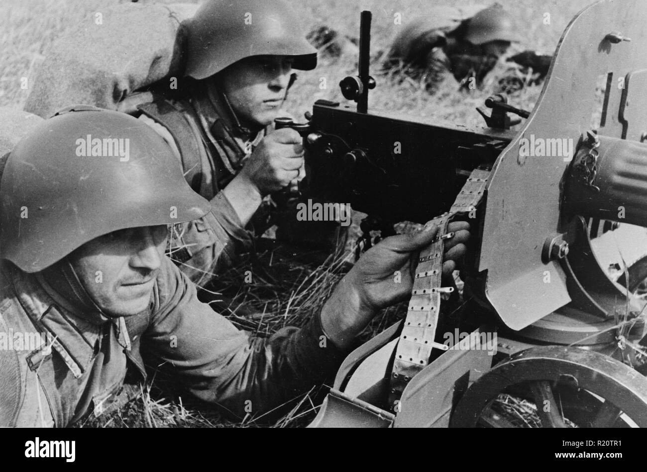 Photograph showing practical exercises of the Red Army in the far eastern territory of the USSR (Union of Soviet Socialist Republics). Dated 1939 - Stock Image