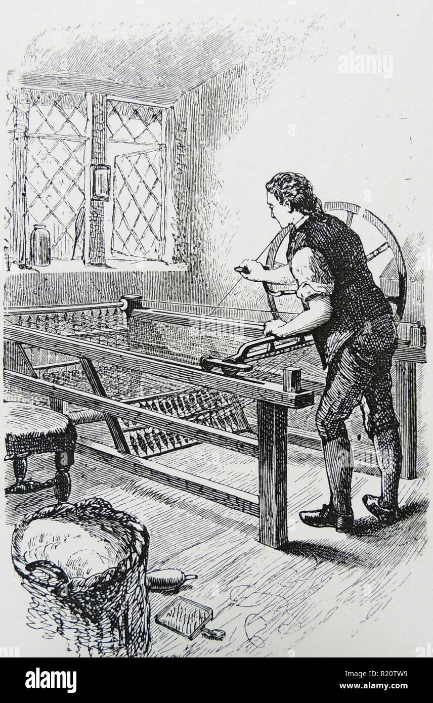 Samuel Crompton (1753-1827) English inventor. His spinning mule of 1779.  Being too poor to apply for a patent, he sold his invention for AL67 to a  ...