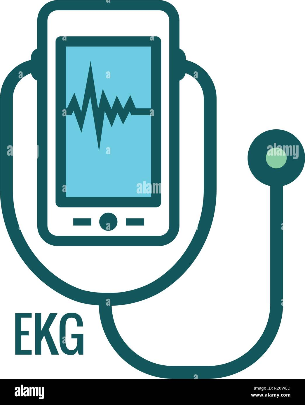 Telemedicine abstract idea - icons illustrating remote health and software - Stock Image
