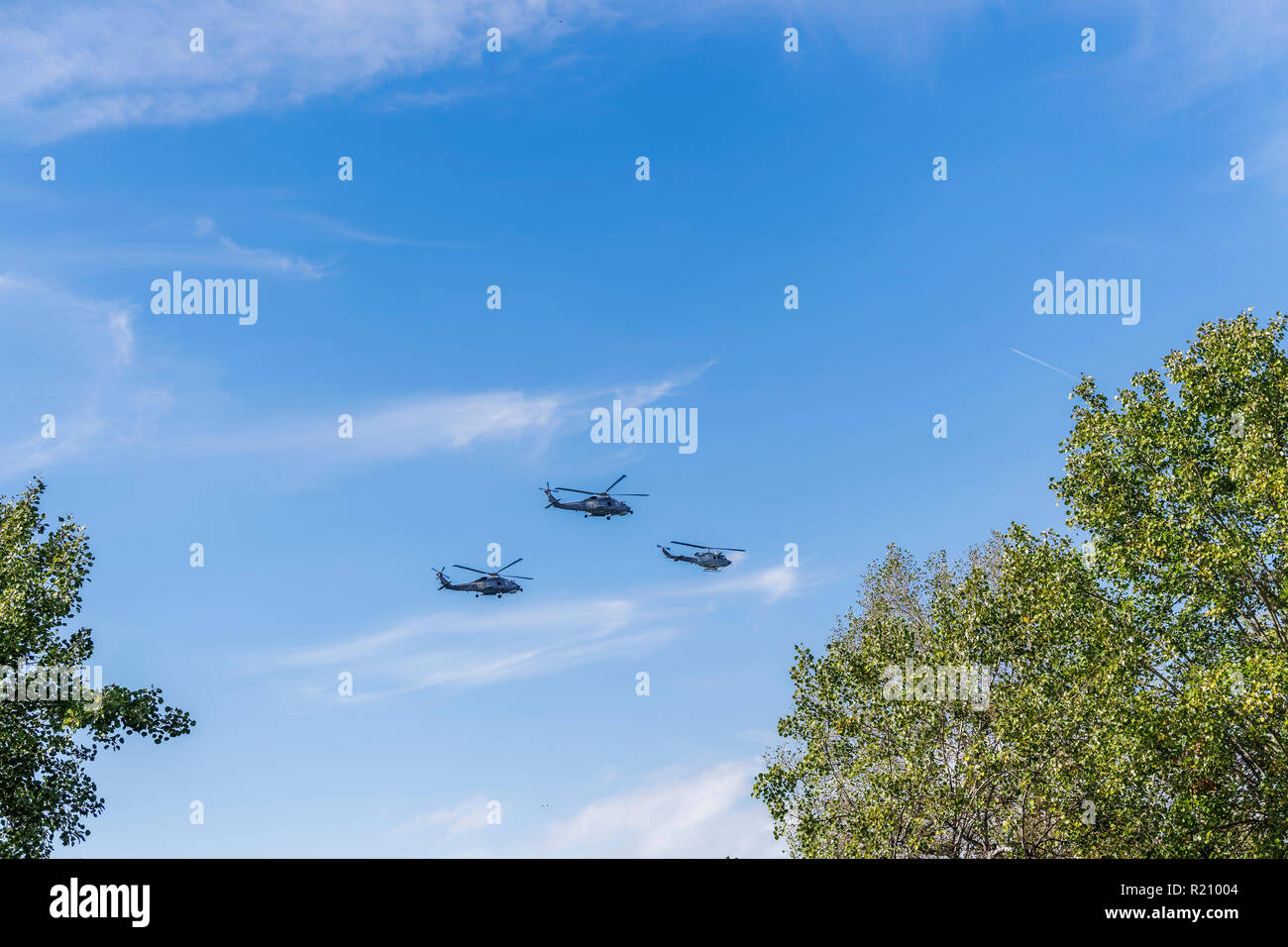 Greek Air Force Seahawk & Agusta Bell helicopters flying. SH Sikorsky Seahawk & Agusta Bell AB-212 frigate Anti Submarine Warfare helicopters. Stock Photo